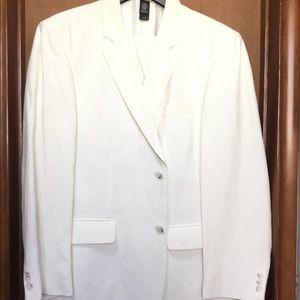 Claiborne Men's Cream Suit Silk/Linen 42S 33X30